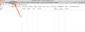 GoogleデベロッパーツールのNetworkタブを選択